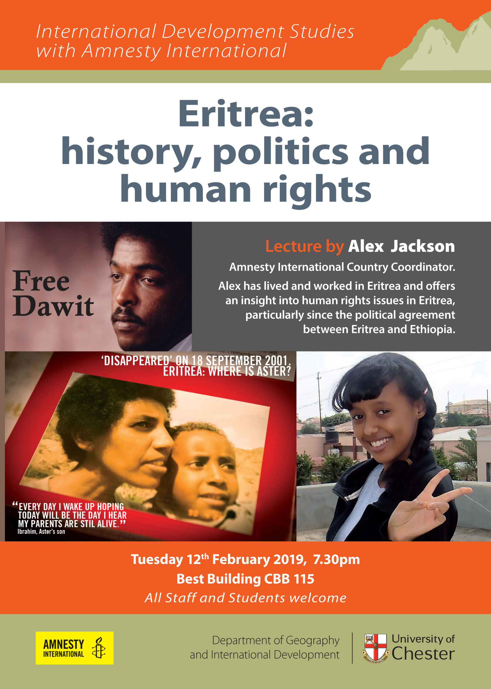 Tues 12th Feb – 'Eritrea and Human Rights' Chester World